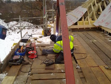 Fabricating Metal  Girders for a Roof